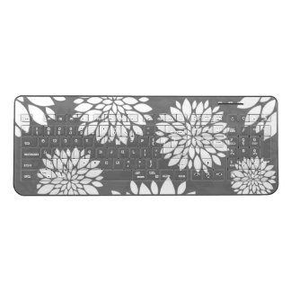 White Contemporary Flowers Wireless Keyboard