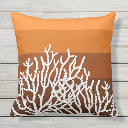 White Coral Orange Striped Pillow