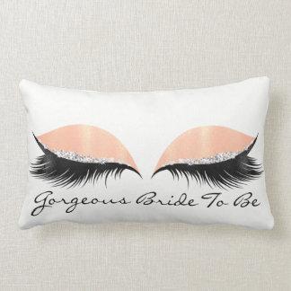 White Coral Peach Makeup Lashes Gorgeous Bride Lumbar Pillow