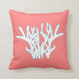 White Coral Pink Throw Pillow