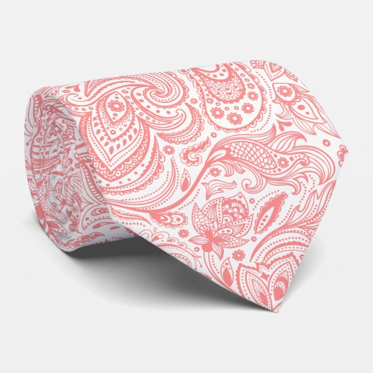 White & Coral-Red Floral Paisley Pattern Tie