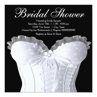 White Corset Damask Bridal Shower Card