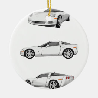 White Corvette: Ceramic Ornament