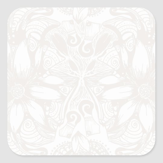 White Cosmic Floral Explosion Square Sticker