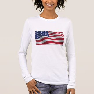 White cotton long sleeve T-shirt with American fla