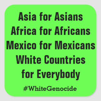 White Countries for Everybody Square Sticker
