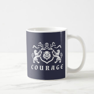 White Courage Lions Blazon Coffee Mug