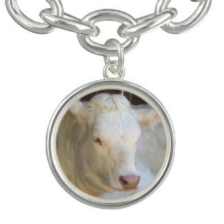 White cow charm bracelet