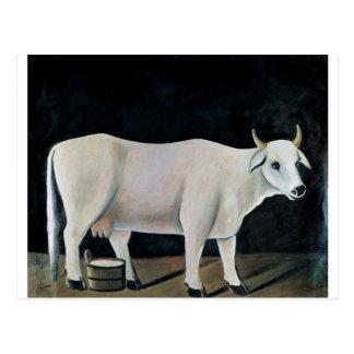 White cow on a black background by Niko Pirosmani Postcard