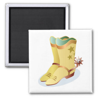 White Cowboy Boots with Riding Spurs Magnet