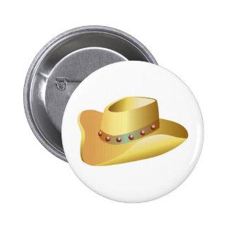 White Cowboy Hat 2 Inch Round Button