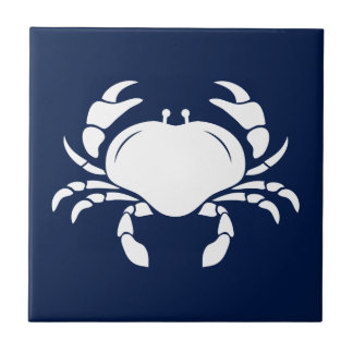 White Crab on Blue Ceramic Tile