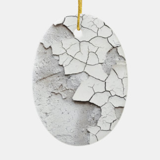 White CRACKS Ceramic Oval Ornament