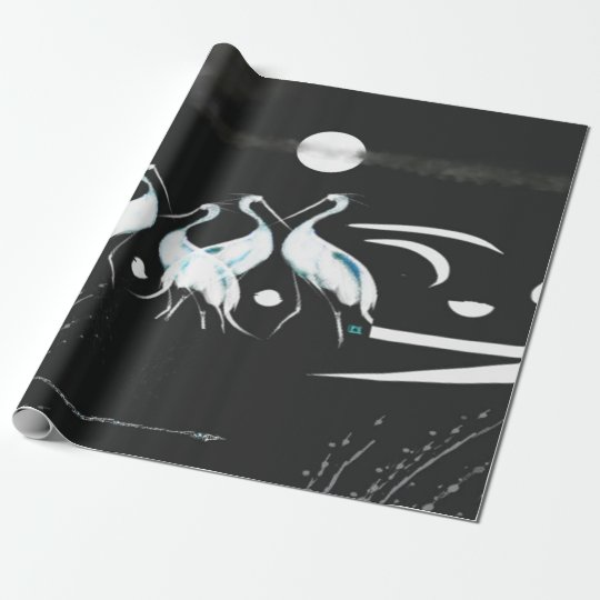 White Crane Photo Gloss Wrapping Paper