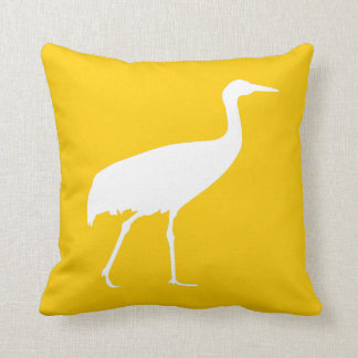 White Crane Throw Pillow