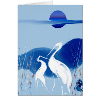 White Cranes Greeting Card
