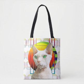 White Crazy Cat Design Sphynx Cat Devon Rex Cat Tote Bag