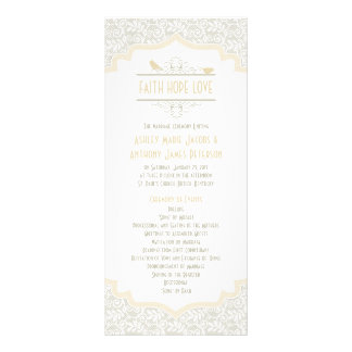 White Cream Champagne Lace Birds Wedding Program Full Color Rack Card