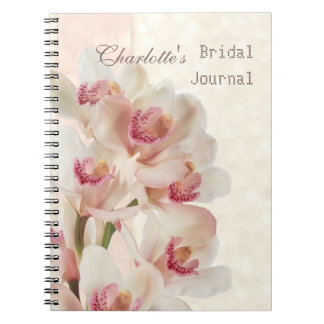 White cream orchids in full bloom Bridal Shower Notebook
