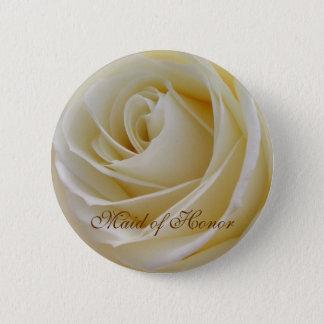 White Cream rose Maid of Honor Button