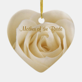 White cream rose Mother of the Bride Ornament