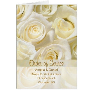 White cream roses Wedding program Invitation