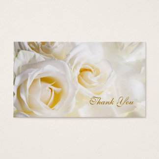 White cream Roses Wedding Thank you Business Card