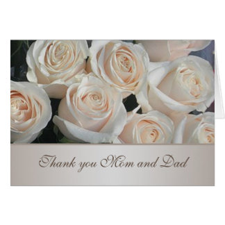 White cream roses Wedding Thank You Greeting Card