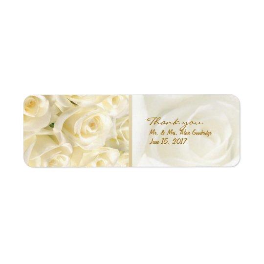 White - cream roses Wedding Thank you Label