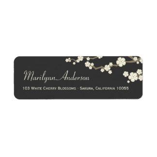 White Cream Sakura Cherry Blossoms Address Labels