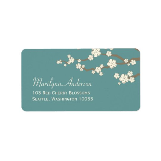 White Cream Sakura Cherry Blossoms Address Labels