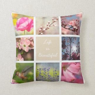 White Create Your Own Photo Collage Cream Beige Throw Pillow