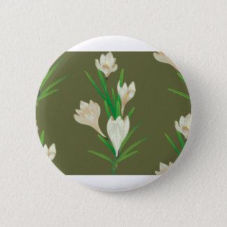 White Crocus Flowers 2 2 Inch Round Button