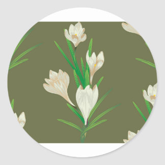 White Crocus Flowers 2 Classic Round Sticker