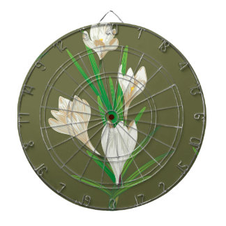 White Crocus Flowers 2 Dart Board