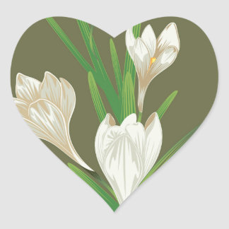 White Crocus Flowers 2 Heart Sticker