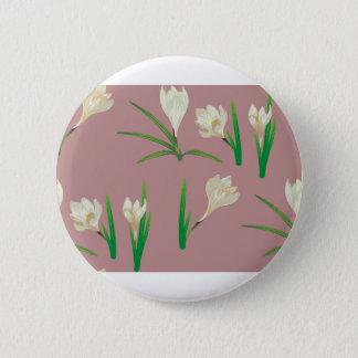 White Crocus Flowers 2 Inch Round Button