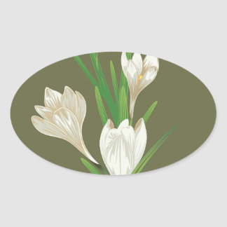 White Crocus Flowers 2 Oval Sticker