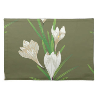 White Crocus Flowers 2 Placemat