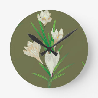 White Crocus Flowers 2 Round Clock