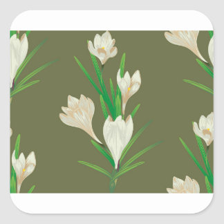 White Crocus Flowers 2 Square Sticker