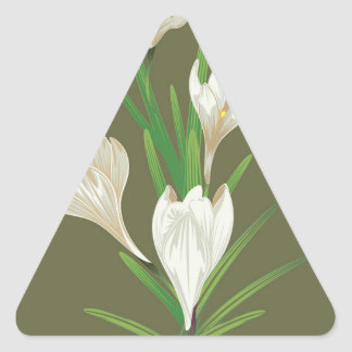 White Crocus Flowers 2 Triangle Sticker