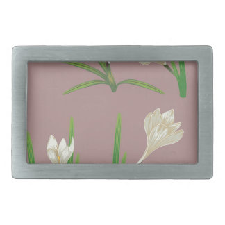 White Crocus Flowers Belt Buckles