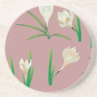 White Crocus Flowers Coaster