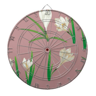 White Crocus Flowers Dartboard