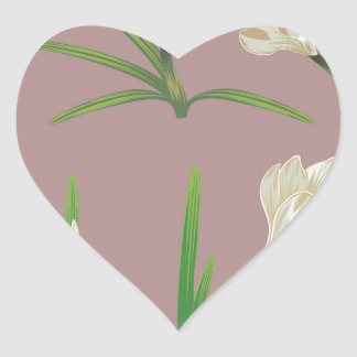 White Crocus Flowers Heart Sticker