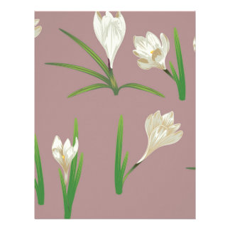 White Crocus Flowers Letterhead