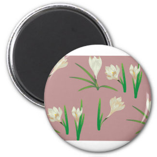 White Crocus Flowers Magnet