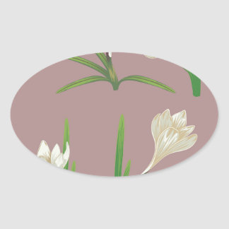 White Crocus Flowers Oval Sticker