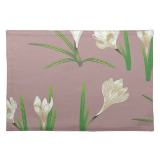 White Crocus Flowers Placemat